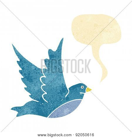 cartoon flying bird with speech bubble