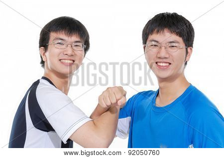 two young casual men portrait, fun on white background