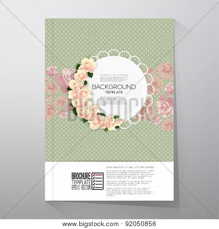 Floral background with place for text and pink flowers over green dotted background, canvas texture.