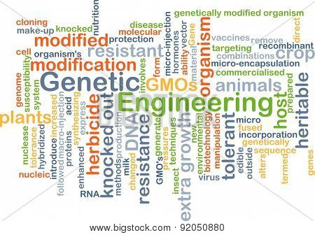 Background concept wordcloud illustration of genetic engineering