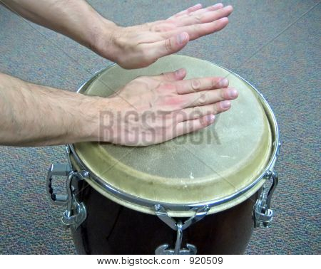 Hands Playing Conga Drum