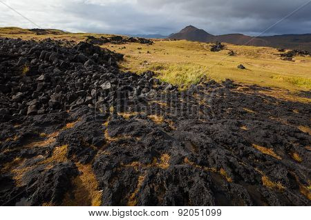 Iceland Landscape With Volcanic Stones