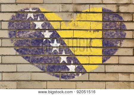 Heart Shape Flag Of Bosnia Herzegovina On Brick Wall