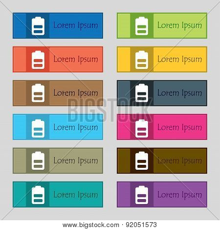 Battery Half Level, Low Electricity Icon Sign. Set Of Twelve Rectangular, Colorful, Beautiful, High-