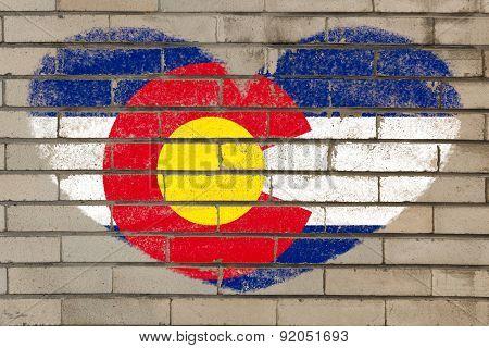 Heart Shape Flag Of Colorado On Brick Wall