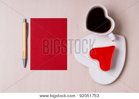 Coffee Cup Cake In Heart Form And Blank Paper