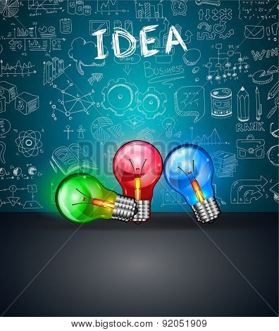 Conceptual LIght Bulb IDEA backgroud with space for text and 3 colorful lamps. Ideal to display new concepts, business proposals, innovation presentations and related posters.