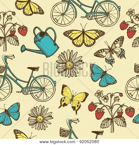 Hand drawn vintage summer seamless pattern