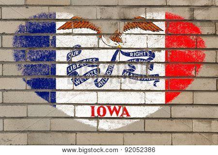 Heart Shape Flag Of Iowa On Brick Wall