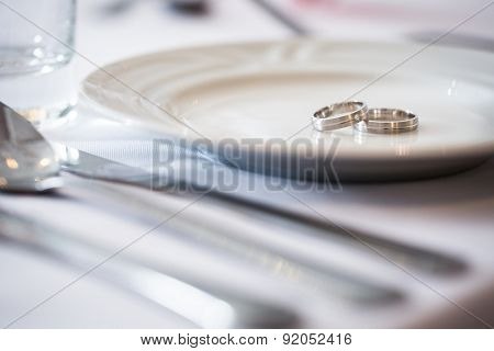 Two splendid wedding rings on a wedding day. Love concept.