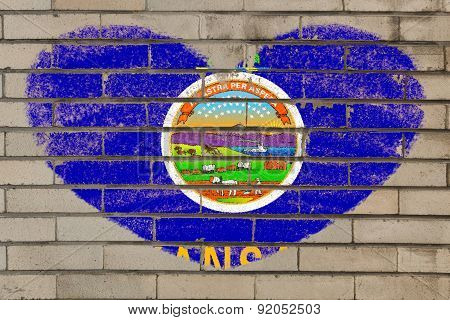 Heart Shape Flag Of Kansas On Brick Wall