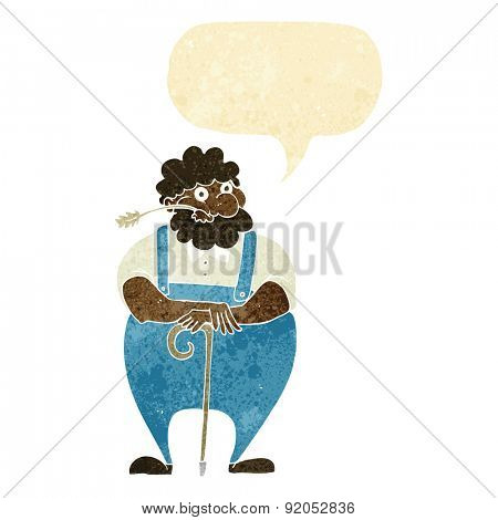 cartoon farmer leaning on walking stick with speech bubble