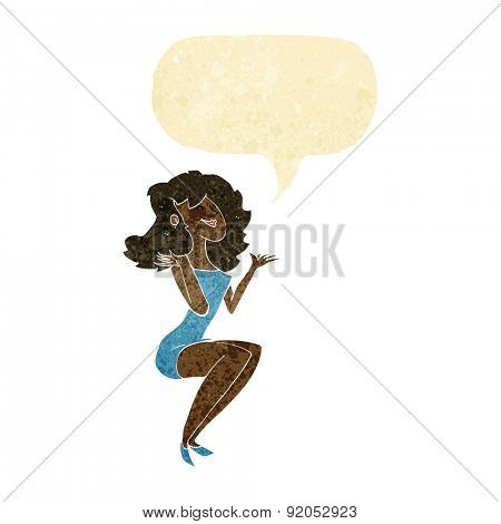 cartoon attractive woman sitting with speech bubble
