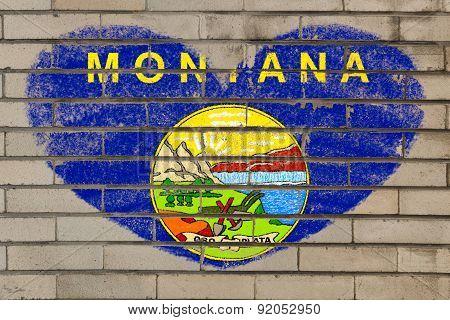 Heart Shape Flag Of Montana On Brick Wall