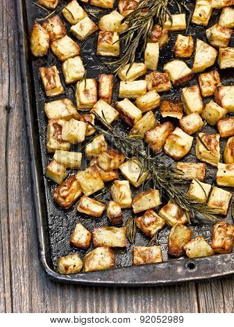 Tray Of Rustic Rosemary Roasted Potato