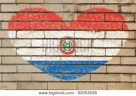 Heart Shape Flag Of Paraguay On Brick Wall