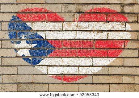 Heart Shape Flag Of Puerto Rico On Brick Wall