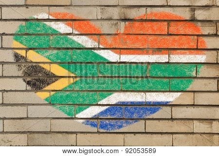Heart Shape Flag Of South Africa On Brick Wall