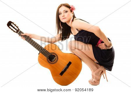 Music Lover, Summer Girl With Guitar Isolated