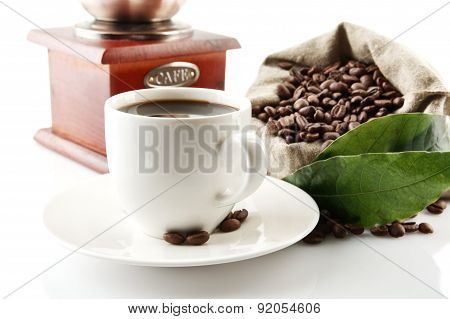 Cup Of Coffee With Mill,bag Full Of Coffee Beans On White