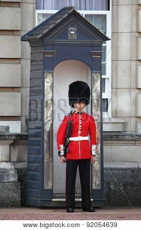 Sentry on duty at Buckingham Palace