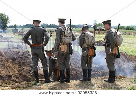 BOLIMOW, POLAND - MAY 31, 2015: Military reconstruction commemorating the hundredth anniversary of the first use of gas warfare on the battlefield at May 31, 2015 Bolimow, Poland.