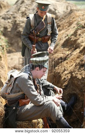 BOLIMOW, POLAND - MAY 31, 2015: First World War. Military reconstruction commemorating the hundredth anniversary  of the first use of gas warfare on the battlefield at May 31, 2015 Bolimow, Poland.