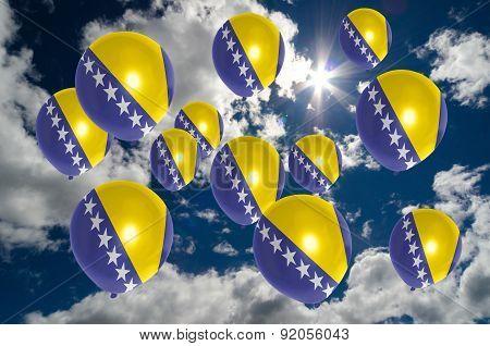 Many Balloons With Bosnia Herzegovina Flag On Sky