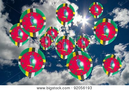 Many Balloons With Dominica Flag On Sky