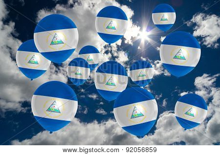 Many Balloons With Nicaragua Flag On Sky