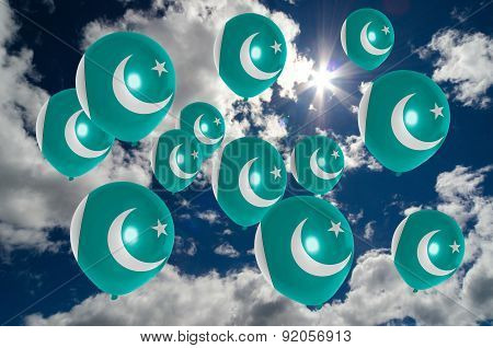 Many Balloons With Pakistan Flag On Sky