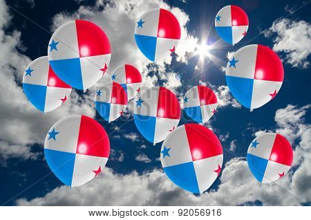 Many Balloons With Panama Flag On Sky