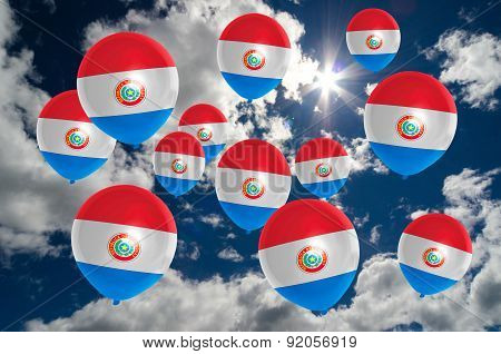 Many Balloons With Paraguay Flag On Sky
