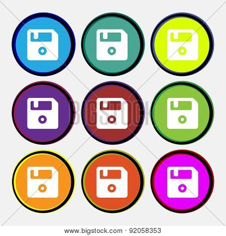 Floppy Icon Sign. Nine Multi-colored Round Buttons. Vector