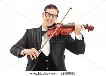 Cheerful young violinist playing an acoustic violin isolated on white background