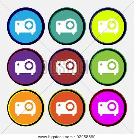 Projector Icon Sign. Nine Multi-colored Round Buttons. Vector