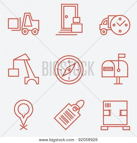 Logistic icons, thin line style, flat design