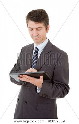 businessman using touch pad of tablet pc, isolated