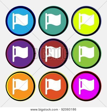 Flag Icon Sign. Nine Multi-colored Round Buttons. Vector