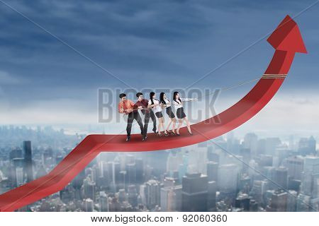 Business Partners Pulling Arrow Upward
