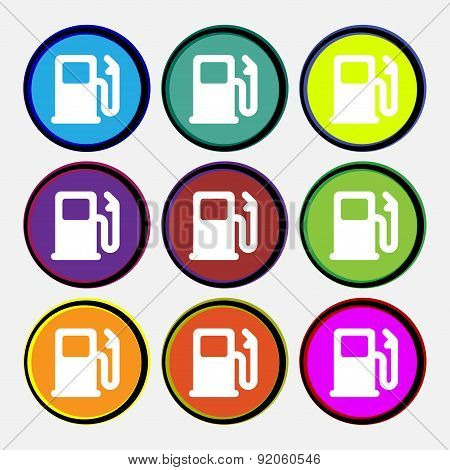 Petrol Or Gas Station, Car Fuel Icon Sign. Nine Multi-colored Round Buttons. Vector