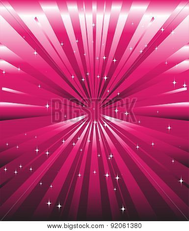 Sparkling stars on pink magenta ray background template