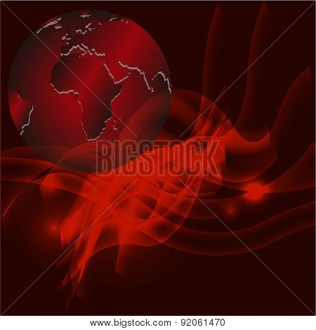 Red abstract background with globe template