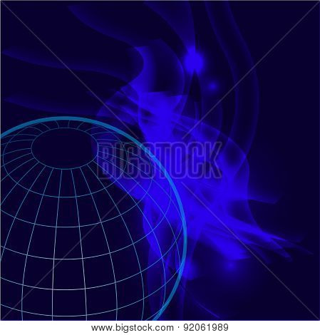 The blue background design pattern planet