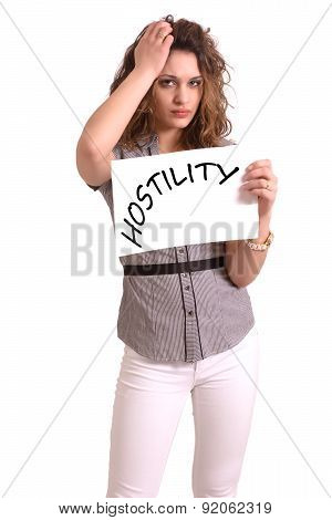 Uncomfortable Woman Holding Paper With Hostility Text