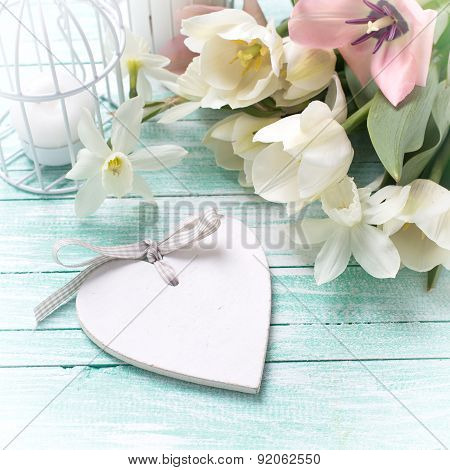 Background With Fresh Flowers, Heart  And Candles