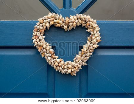 Heart Shaped Door Wreath Made From Shells