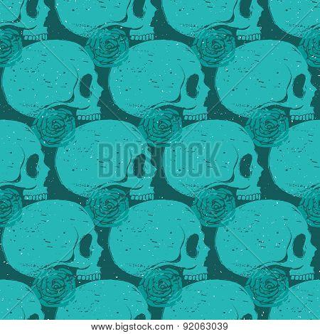 Turquoise Skull Grunge Seamless Pattern