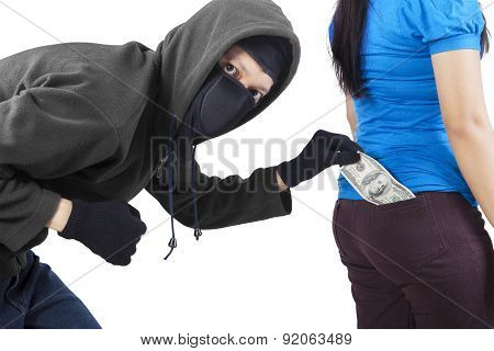 Pickpocket In Action To Take Money