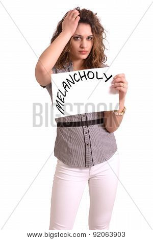 Uncomfortable Woman Holding Paper With Melancholy Text